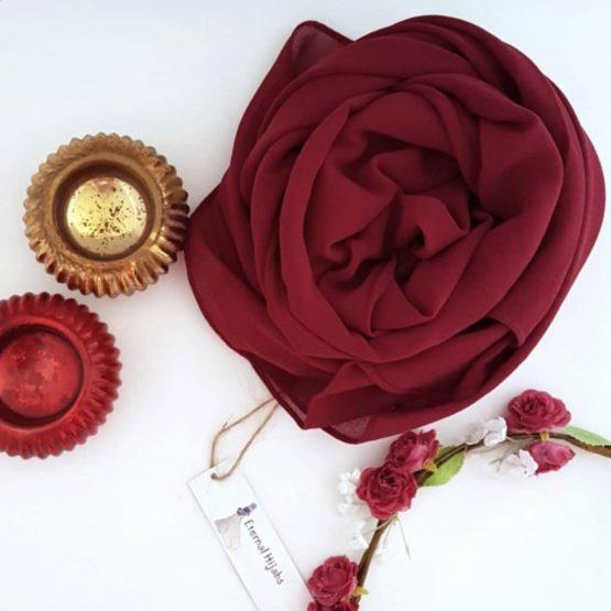 chiffon hijabs burgundy
