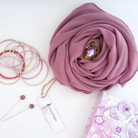 chiffon hijab dusky lilac