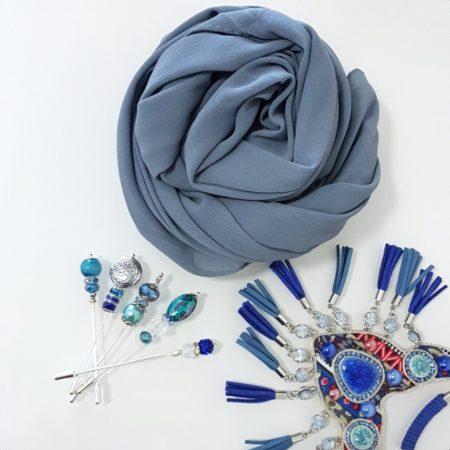 chiffon hijab stone blue