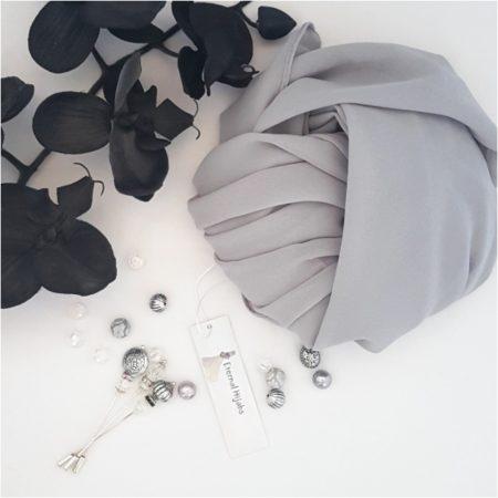 Crepe Chiffon Hijab Silver