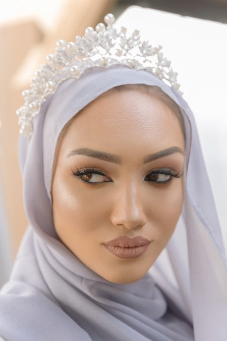 Arabian chiffon hijab Silver