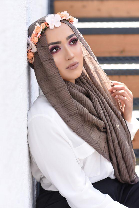 crinkle cotton hijab latte