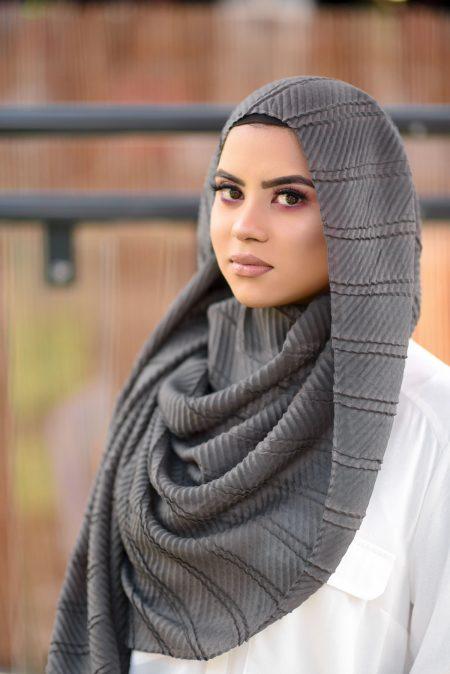 crinkle cotton hijab grey