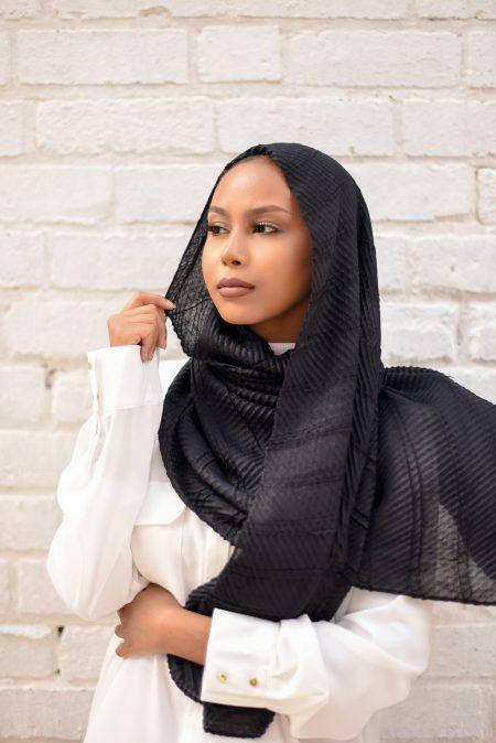 crinkle cotton hijab black