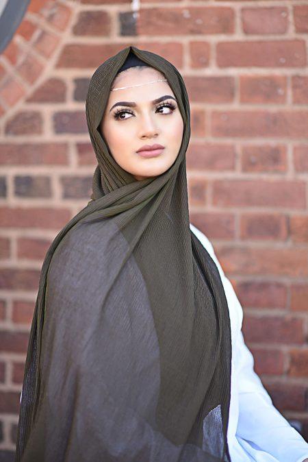 Ripple chiffon hijab khaki