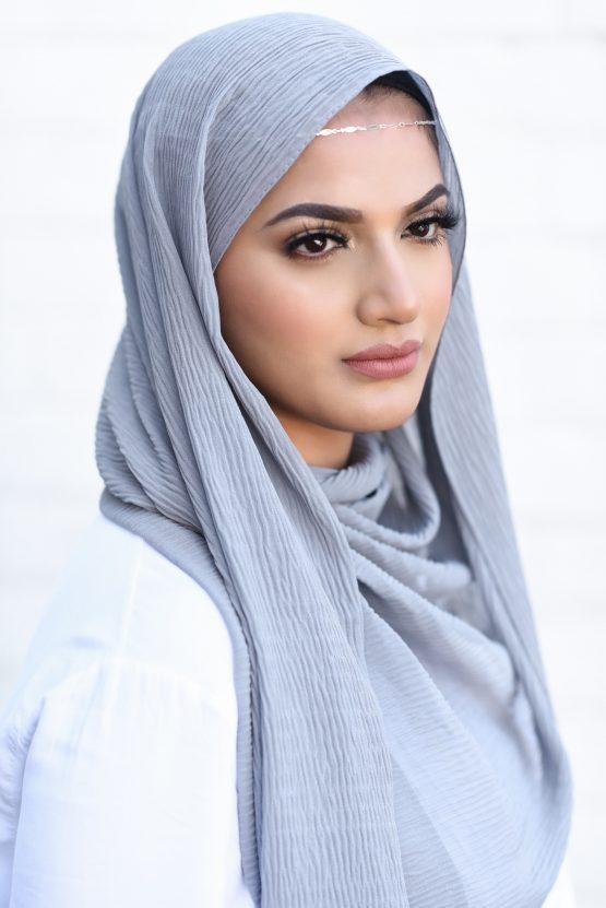 ripple chiffon hijab grey