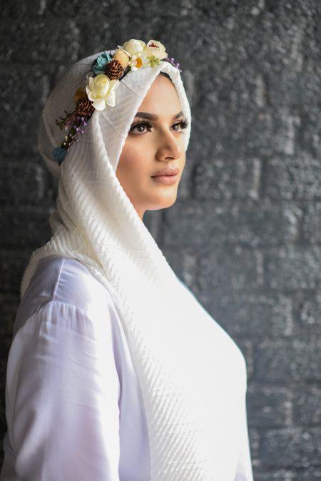 crinkle cotton hijab white