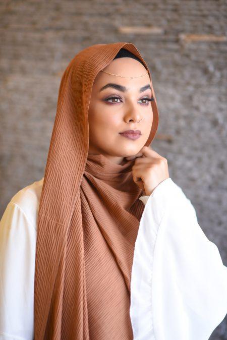 ripple chiffon hijab rust