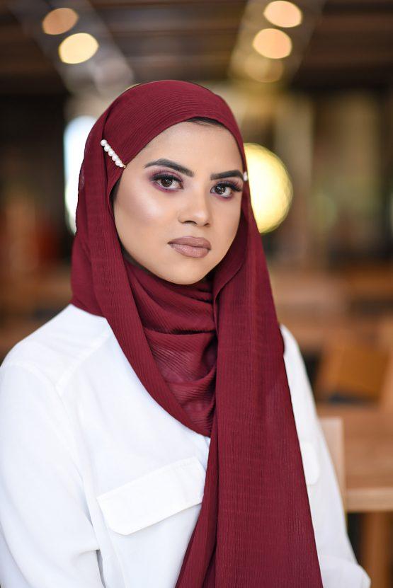 ripple chiffon hijab cherry