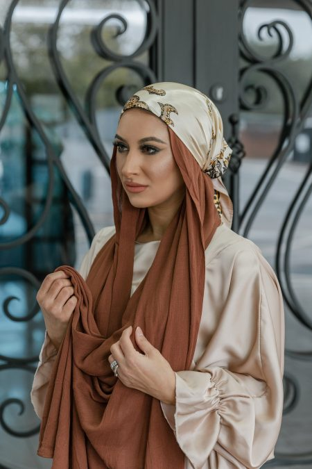 crinkle rayon hijab cocoa