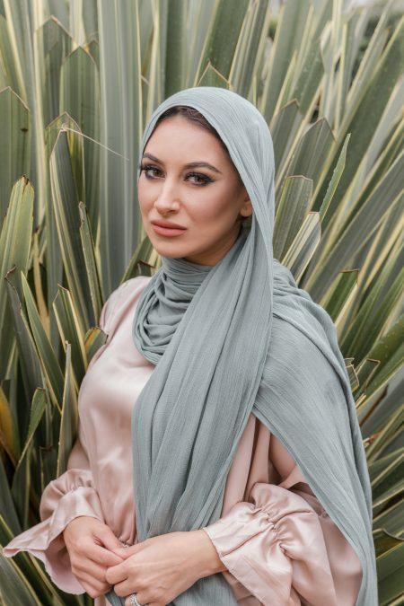 crinkle rayon hijab sea green