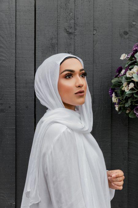 crinkle rayon hijab white