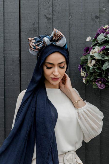 crinkle rayon hijab navy