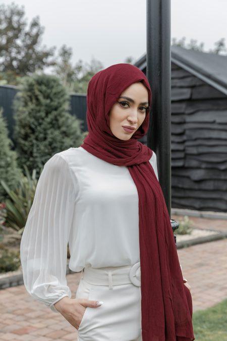 crinkle rayon hijab maroon