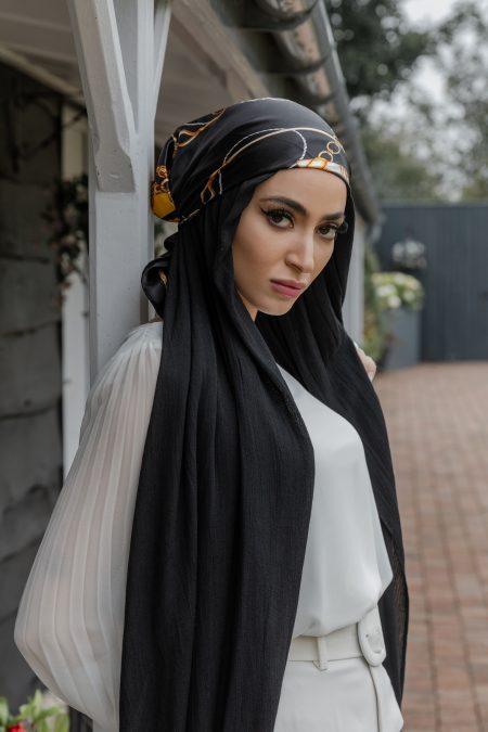 crinkle rayon hijab black