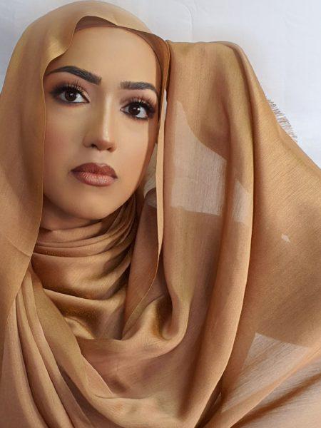 faux silk hijab deep gold