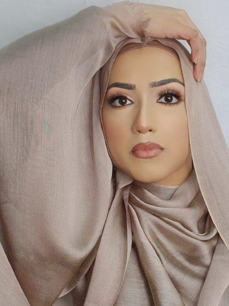 faux silk hijab rose gold