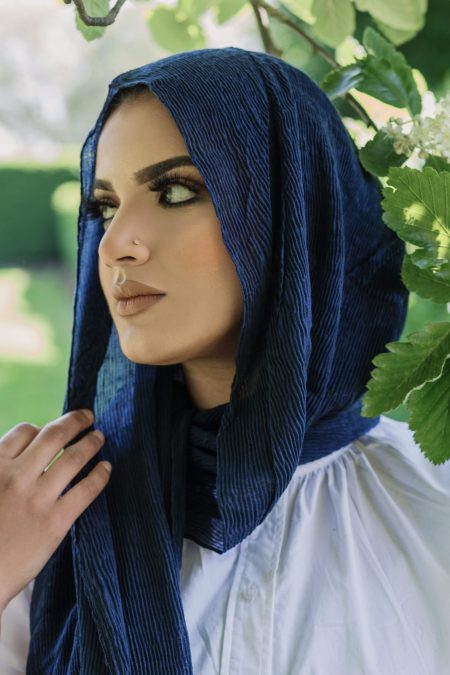 crimple cotton hijab navy