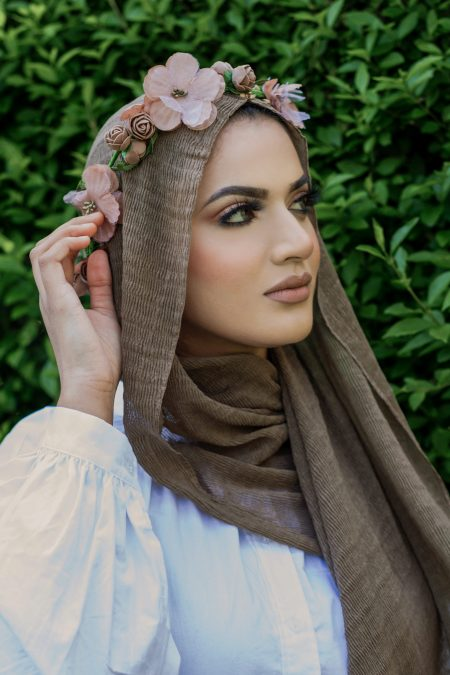 crimple cotton hijab taupe