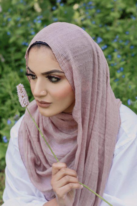crimple cotton hijab blush