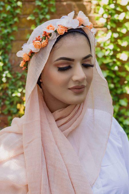 crimple cotton hijab peach