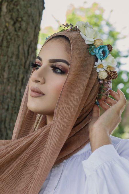 crimple cotton hijab mocha